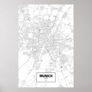 München, Deutschland (Schwarzes auf Weiß) Poster