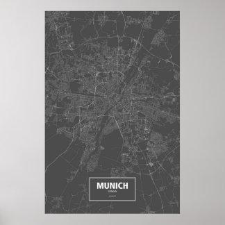 München, Deutschland (weiß auf Schwarzem) Poster
