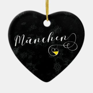 München-Herz, Weihnachtsbaum-Verzierung, Keramik Ornament