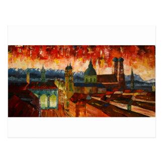 München mit Alpen-Panorama Postkarte