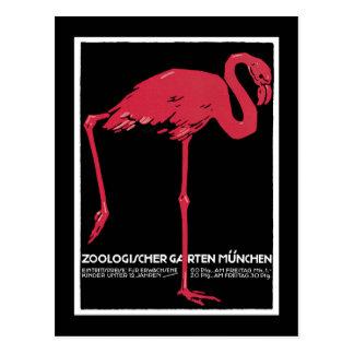 München-Zoo, deutsches Vintages Reise-Plakat Postkarte