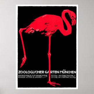 München-Zoo-Garten-Flamingo-Reise-Kunst Posterdrucke