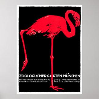 München-Zoo-Garten-Flamingo-Reise-Kunst Poster