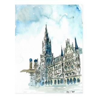 MünchenRathaus Marienplatz Postkarte