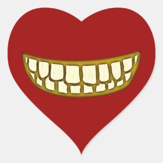 Mund Zähne Grinsen mouth teeth grin Herz-Aufkleber