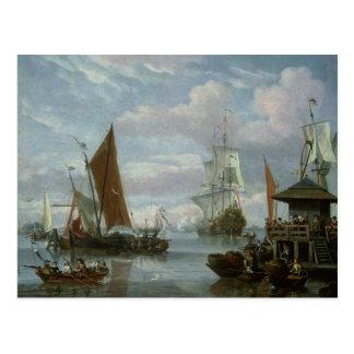 Mündungs-Szene mit Booten und Fischer Postkarte