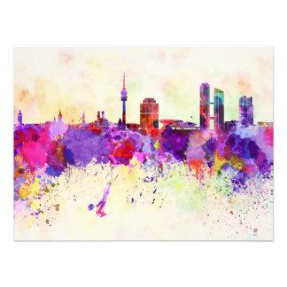 Munich skyline im Watercolor background Kunst Fotos