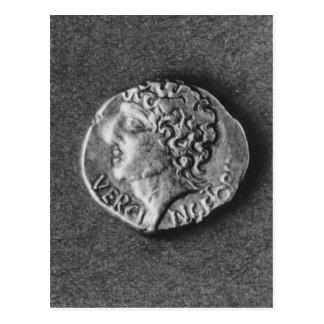 Münze, die das Bildnis von Vercingetorix trägt Postkarte
