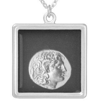 Münze, die den Kopf von Alexander der Große trägt Halskette Mit Quadratischem Anhänger