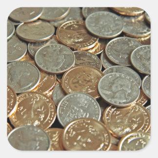 Münzen Quadrat-Aufkleber