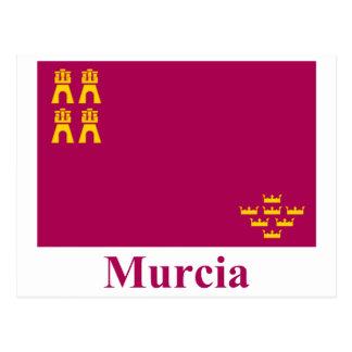 Murcia-Flagge mit Namen Postkarte