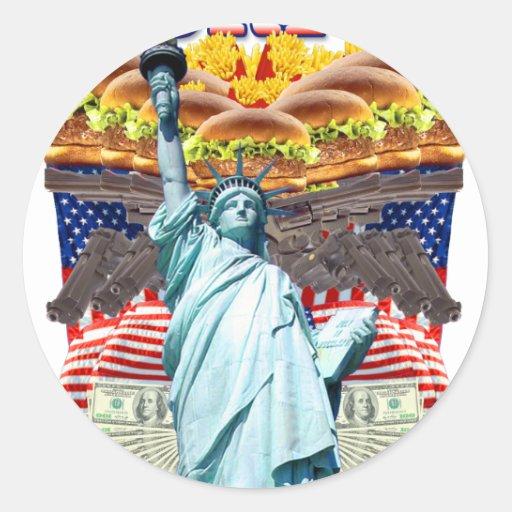 """""""MURICA! Amerikanischer Stolz, Freiheit lovin"""" Völ Runder Sticker"""