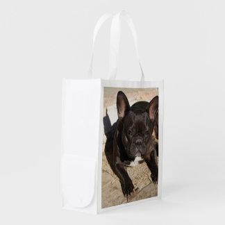 Mürrische französische Bulldogge Wiederverwendbare Einkaufstasche