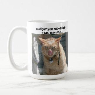 Mürrische Katze, Sarkasmus, nicht eine Kaffeetasse