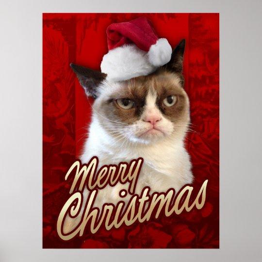 Frohe Weihnachten Katze.Mürrische Katzen Frohe Weihnachten Poster