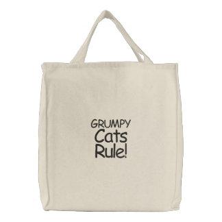 Mürrische Katzen-Regel! Bestickte Tragetaschen