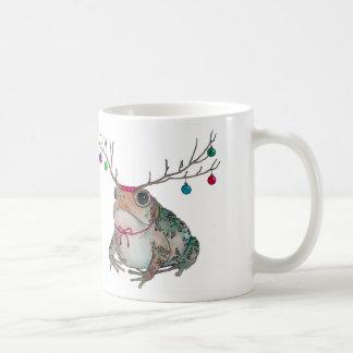 Mürrische Kröte, welche die Feiertage genießt Kaffeetasse