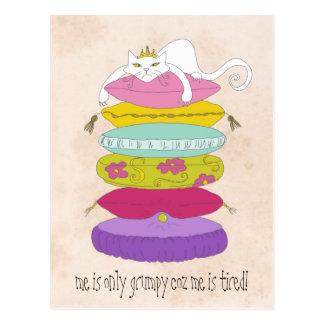 Mürrische Prinzessinkatze und die Erbsen-Cartoons Postkarte