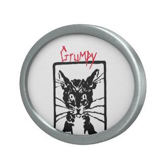 Mürrische schwarze Katze für die mürrische Person Ovale Gürtelschnalle