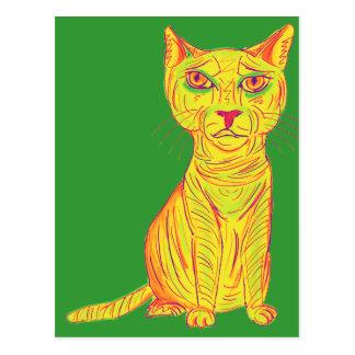 Mürrische und verwirrte gelbe Katze, naive Art Postkarte