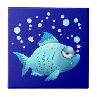 Mürrischer Fisch-Cartoon Fliese