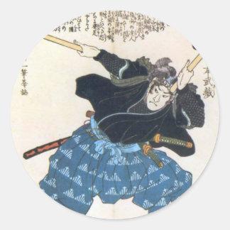 Musashi Miyamoto 宮本武蔵 mit zwei Bokken Runder Aufkleber