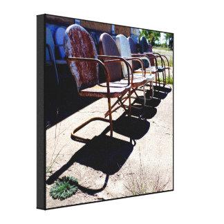 Muschel-Stühle wickelten Leinwand ein
