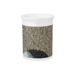 Muscheln auf Sand. Sommerstrandhintergrund Krug
