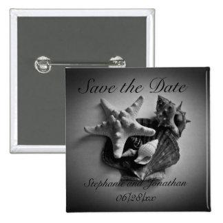 Muscheln im Schwarzweiss-Save the Date Knopf Quadratischer Button 5,1 Cm