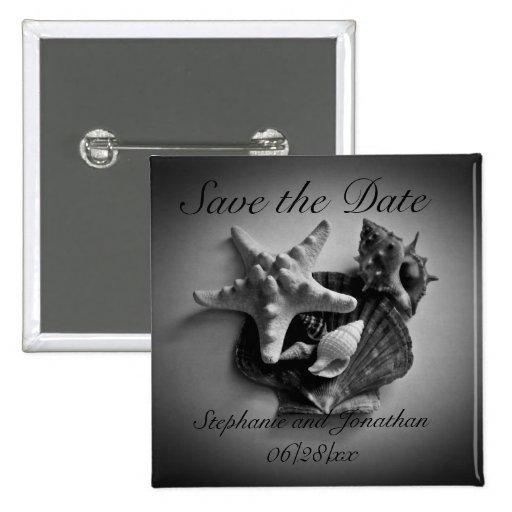Muscheln im Schwarzweiss-Save the Date Knopf Buttons
