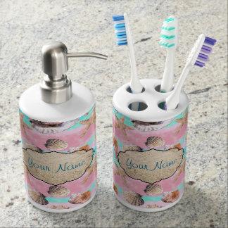 Muscheln-Rosa und TürkisWatercolor Badezimmer-Set