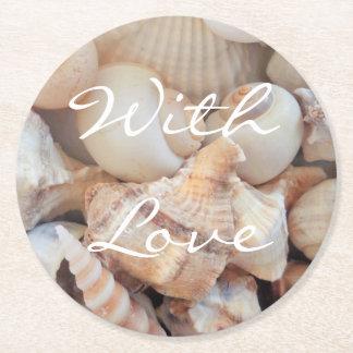 Muscheln, Sommer-Strand-exotisches tropisches Runder Pappuntersetzer