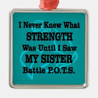Muscle/I kannte nie… Schwester Quadratisches Silberfarbenes Ornament