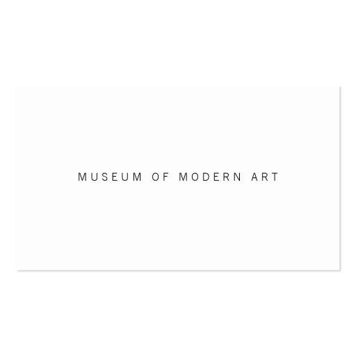 Museums-minimale vordere und hintere Mittelzwei Visitenkartenvorlage