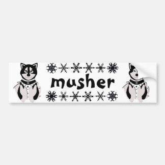 """""""Musher"""" Malamute und heisere Schlitten-Hunde Autoaufkleber"""