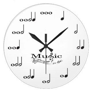 Musik-Anmerkung mit Musik ist Leben-Sprichwort Uhr