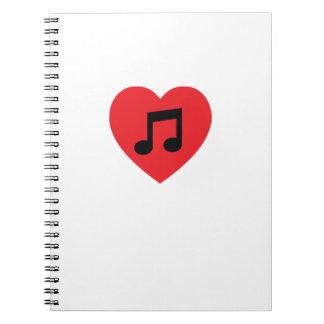 Musik-Anmerkungs-Herz-gewundenes Notizbuch Notizblock