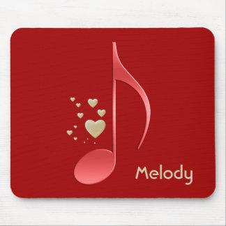Musik-Anmerkungs-rote Goldherzen mit Monogramm Mousepad