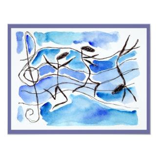 Musik-Anmerkungs-Tänzer-Erwägungsgrund oder Party 10,8 X 14 Cm Einladungskarte