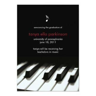 Musik-bedeutende Klavier-Abschluss-Mitteilung 12,7 X 17,8 Cm Einladungskarte