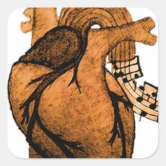 Musik behält mich lebendig quadratischer aufkleber