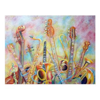 Musik-Blumenstrauß Postkarte