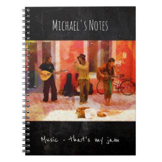 Musik, die mein Stau - Malerei der Straßen-Musiker Spiral Notizblock