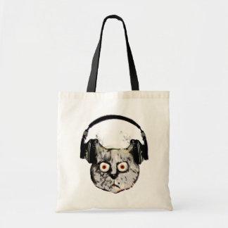 Musik-DJ-Katze mit Kopfhörer Budget Stoffbeutel