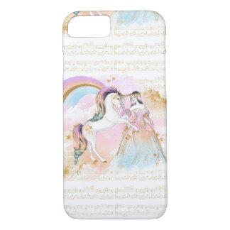 Musik Einhorn-Prinzessin Rainbow spielt rosa Blau iPhone 8/7 Hülle