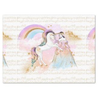 Musik Einhorn-Prinzessin Rainbow spielt rosa Blau Seidenpapier