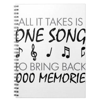 Musik-Erinnerungen Spiral Notizblock