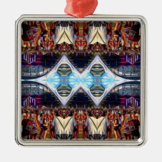 Musik-Festival Quadratisches Silberfarbenes Ornament