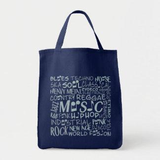 Musik Genres-Wort-Collagen-Taschentaschen Einkaufstasche