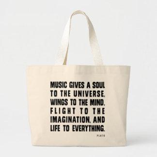 Musik gibt ein Soul zum Universum Jumbo Stoffbeutel